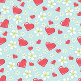Cherry Flowers And Hearts In Seamline Pattern Or B Stock Photos