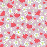 Cherry Flowers Polka Dot And Hearts In Seamline Pa Stock Photos