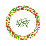 Cherry food frame on a white background. Animation illustrations for design Fruit element. Handwork Stock Photo