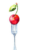 Cherry on the fork Royalty Free Stock Images