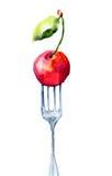 Cherry on the fork vector illustration
