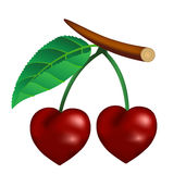 Cherry in the form of heart Stock Photography