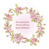 Cherry frame with poem. Pink sakura cherry branch frame print with poem inside isolated vector illustration Stock Photography