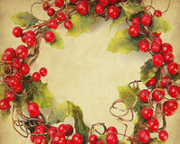 Cherry framework of christmas decorations Stock Photo