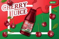 Cherry fresh juice advertising. Juice container package ad isolated. 3d realistic ripe cherry Vector illustration for stock illustration
