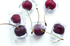 Cherry frozen in ice cube Royalty Free Stock Image