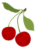 Cherry fruit. Shapes from letters Royalty Free Stock Image