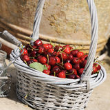 Cherry fruit. Some beautiful sweet cherry fruit in basket stock photography