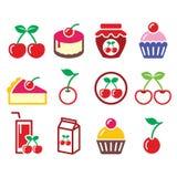 Cherry, fruit cake, jam icons set. Vector food icons set - cherries  on white Royalty Free Stock Photo