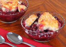 Cherry Fruit Cobbler. Two bowls of cherry fruit cobbler dessert stock photos