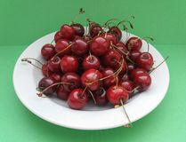 Cherry fruit food. Red cherry Prunum fruit vegetarian food in a dish stock images