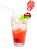 Cherry fruit juice with ice Stock Photos