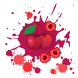 Cherry Fruit Logo Watercolor Splash-Design-neue Naturkost Stockfoto