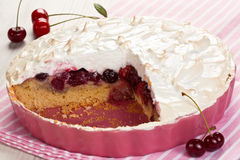 Cherry fruit meringue tart Royalty Free Stock Photography