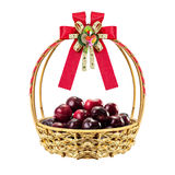 Cherry fruit in rattan basket Stock Image