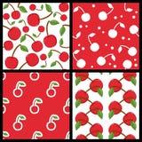 Cherry Fruit Seamless Patterns Set rojo stock de ilustración