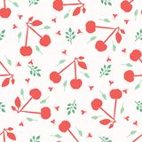 Cherry fruit seamless vector pattern background. Hand drawn tossed paper cut out. Matisse style. 1950s garden folk art summer. Background. Scandi kids nature royalty free illustration