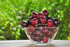Cherry fruits. On glass bowl Stock Photography