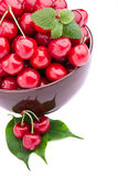 Cherry fruits in brown bowl Stock Image