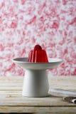 Cherry Gelatin Dessert Homemade vermelho imagens de stock