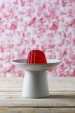 Cherry Gelatin Dessert Homemade vermelho fotografia de stock royalty free