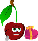 Cherry with gift for Valentines Day Royalty Free Stock Photos