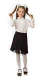The cherry girl in a school uniform. The cherry girl in a school  uniform Royalty Free Stock Photo