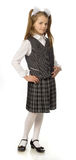 The cherry girl in a school uniform. The cherry girl in a school  uniform Royalty Free Stock Images
