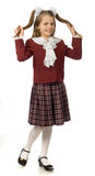 The cherry girl in a school uniform. The cherry girl in a school  uniform Royalty Free Stock Photo