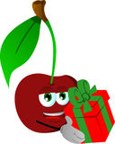 Cherry giving you a gift box Royalty Free Stock Image