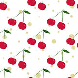 Cherry and gold glitter polka dot. Seamless backgroun Stock Photo
