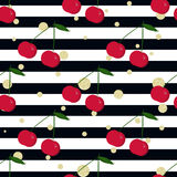Cherry, gold glitter polka dot and stripes. Seamless background Royalty Free Stock Photo