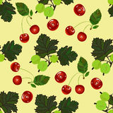 Cherry and gooseberry seamless pattern Royalty Free Stock Photo
