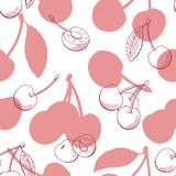 Cherry graphic berry pink color seamless pattern background sketch illustration vector. Cherry graphic berry pink color seamless pattern background sketch Stock Photo