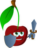 Cherry guard with shield and sword Stock Photos