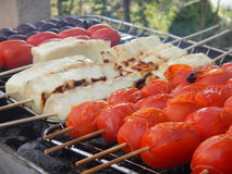 Cherry tomato, halloumi, olives Royalty Free Stock Photography