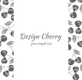 Cherry hand drawn illustration, Vector berry border, Fruit design frame for banner, cards, invitations Stock Photography