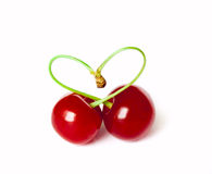 Cherry heart. Isolated on the white background Royalty Free Stock Photography