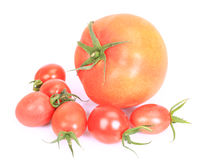 Cherry heirloom tomatoes harvested. On the white background royalty free stock photography