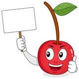 Cherry Holding alegre una bandera en blanco Foto de archivo