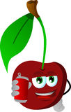 Cherry holding beer or soda can Royalty Free Stock Image