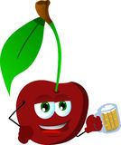 Cherry holding beer Stock Photography