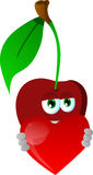 Cherry holding a big red heart Royalty Free Stock Photos