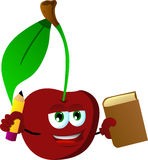 Cherry holding a book and a pencil Royalty Free Stock Photography