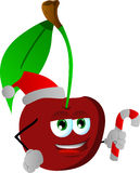 Cherry holding a candy cane and wearing Santa's hat Stock Image