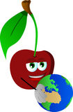 Cherry holding Earth Stock Images