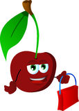 Cherry holding an empty bag Royalty Free Stock Photos