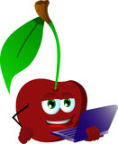 Cherry holding laptop Royalty Free Stock Photos