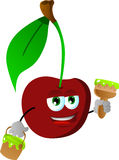 Cherry holding a paint can and a paint brush Royalty Free Stock Photo