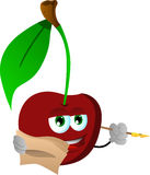 Cherry holding pen and papers Royalty Free Stock Photos